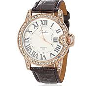 Women's Fashion Diamond Case PU Band Quartz Wrist Watch (Assorted Colors)