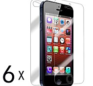 [6-Pack] Front and Back Retina Screen Protector for iPhone 5/5S