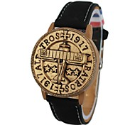 Unisex Plane Pattern Stamp Style Cover Leather Band Quartz Wrist Watch (Assorted Colors)