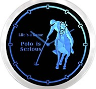 nc0959 Polo Horse Race Helmet Golf Game Neon Sign LED Wall Clock