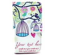 Bird and  Birdcage Owl Pattern PU Leather Case with Card Holder and Stand for Samsung Galaxy I8160