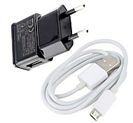 Euro Plug Micro USB Wall Charger with Micro USB Cable for Samsung Galaxy S3/S4 and Other Cellphones