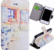 Spezielle Getreide Blumen und Fenster Muster PU Full Body Gehäuse mit Card Slot für iPhone 4/4S