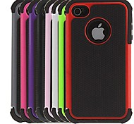 2-in-1 design Hexagon modello rigido con silicone all'interno Cover per iPhone 4/4S (colori assortiti)
