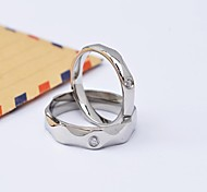 Fashion Polygon CZ Diamonds Inlaid Titanium Steel Polished Couple Rings