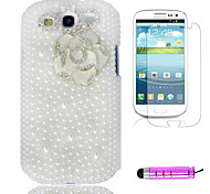 Full Pearl White Camellia Plastic Phone Shell +HD Film + Mini Stylus 3 in1 for Samsung Galaxy S3 i9300
