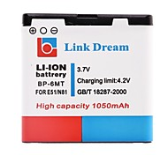 Link Dream 3.7V 1050mAh BP-6MT Cell Phone Battery for NOKIA E51 N81 8GB N82
