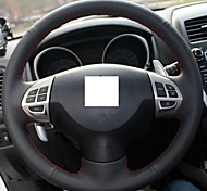 XuJi ™ Black Genuine Leather Steering Wheel Cover for Mitsubishi Lancer EX Outlander ASX Colt Pajero Sport