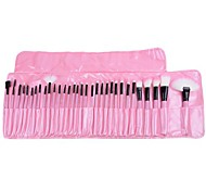 32 PCS de cepillo del maquillaje cosmético Lápiz Delineador de labios Make Up Kit Holder Bag Pink