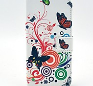 Butterflies Flower Pattern PU Leather Hard  Case with Card Slot for HTC One Mini 2 /M8 mini