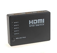 YuanBoTong SW05 5-In 1-Out 1080P HDMI V1.3 Maschio a HDMI V1.3 Maschio Switch / Splitter nero