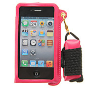 Protective PU Leather Lanyard Wallet Stand Case for iPhone 4s/4(Assorted Color)