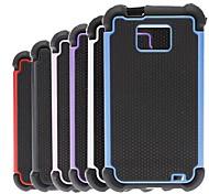 Patrón de diseño hexagonal 2-en-1 estuche rígido con cubierta interior de silicona para Samsung Galaxy S2 i9100 (colores surtidos)