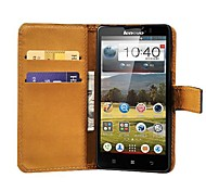 Black Genuine Leather Phone Bag Case for Lenovo P780,Stand Design with 2 Card Holders