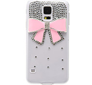 Transparent Pattern Pink Bowknot Plastic Hard Back Case Cover for Samsung Galaxy S5 I9600