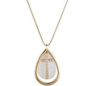 Oval Cross Water-Drop Pendant Necklace(Random Color)