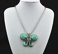 Vintage (Butterfly) Tibet d'antiquariato della lega del turchese della collana (verde) (1 Pc)