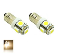 Bulbo E10 1W 5X5050 SMD quentes luzes brancas 3000K LED Luz para DIY (DC 12V, 2 pacotes)
