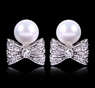 (1 Pair)Sweet (Small Bow Pearl) as Picture Alloy Stud Earrings