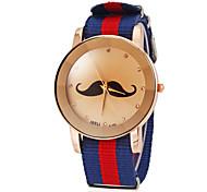 Unisex Mustache Pattern Colorful Fabric Band Quartz Wrist Watch (Assorted Colors) Cool Watches Unique Watches