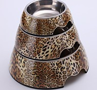 Leopard Applique Melamine Round Bowl with Stainless Steel Dish for Pet Dogs