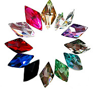 24PCS Mixs del brillo del color Rhombus Rhinestone Decoración de uñas