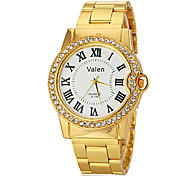 Men's Diamond Case Gold Steel Band Quartz Wrist Watch (Assorted Colors)