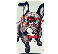Hard Case Vetro Happy Dog Pattern for iPhone 4/4S