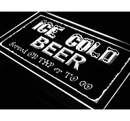 Ice Cold Beer on Tap or To Go Bar Light Sign