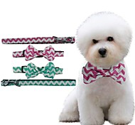 Adjustable Wavy Lines Patch With Bow Collar for Pets Dogs