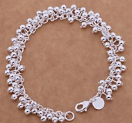 New Fashion  8inch Women's 925 Silver Plated Chain & Link Bracelets