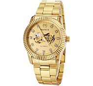 Men's Auto-Mechanical Luxury Gold Skeleton Steel Band Wrist Watch