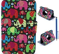 Color Cartoon Elephant Pattern PU Leather Full Body Case+Stylus Pen for Samsung Galaxy Tab 3 Lite T110/T111