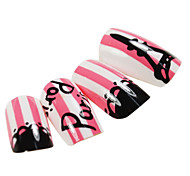 24PCS Pink Paris Style Nail Art Tips With Glue