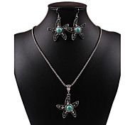 Classic Diamate Pierced Star Shape Green Rammel Silver Alloy Necklaces Earrings Vintage Jewelry Sets
