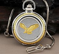 Men's Eagle Style Round Roman Large Numerals Dial Quartz Analog Pocket Watch