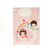 Lovely Pink Crown Coloured Drawing Pattern Style PU Leather Full Body Cases with Stand for iPad Air
