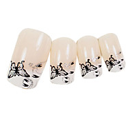 24PCS Black Butterfly Design Natural Nail Art Tips With Glue