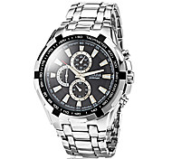 Men's Fashion Hard Case Silver Steel Band Quartz Wrist Watch