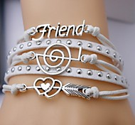 Alloy Friend and Music Notation Multilayer Handmade Leather Bracelet