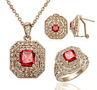 Glam Luxe Mysterious Red Crystal Jewelry 18K Gold Plated Ruby Zirconia Necklaces Earrings Ring Set