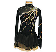 Girl's Black Pattern Spandex Figure Skating Dress(Assorted Size)