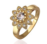 Mode Femme Shiny forme de fleur de Zircon Ring (or / or rose)