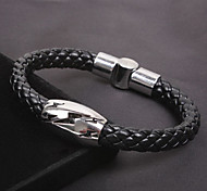 Fashion Individual Style Men Lighting Snake Twine Black Alloy Leather Chain&Link Bracelet(1 Pc)