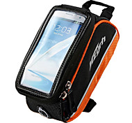 MZYRH 4.8 Inch Black and Orange Frame Phone Bag with Transparent PVC Touchable Screen