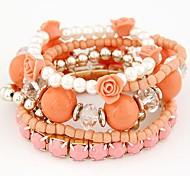 Fashion Ladies Wild Flowers Sweet Jelly Color Diamond Stretch Bracelet