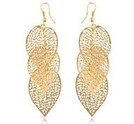 (1 coppia) (foglie cavi) orecchini di goccia della lega d'oro d'epoca