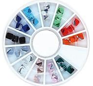 36pcs colore della miscela 4 millimetri cubo quadrato ruota strass in cristallo chiodo decorazione di arte