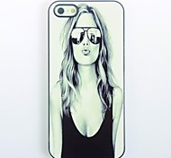 Lovely Girl with Sunglasses Pattern Metal Hard Case for iPhone 5/5S
