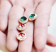 Fashion Diamate (Round Gem) Golden Alloy Stud Earrings(Green,Red) (1 Pair)